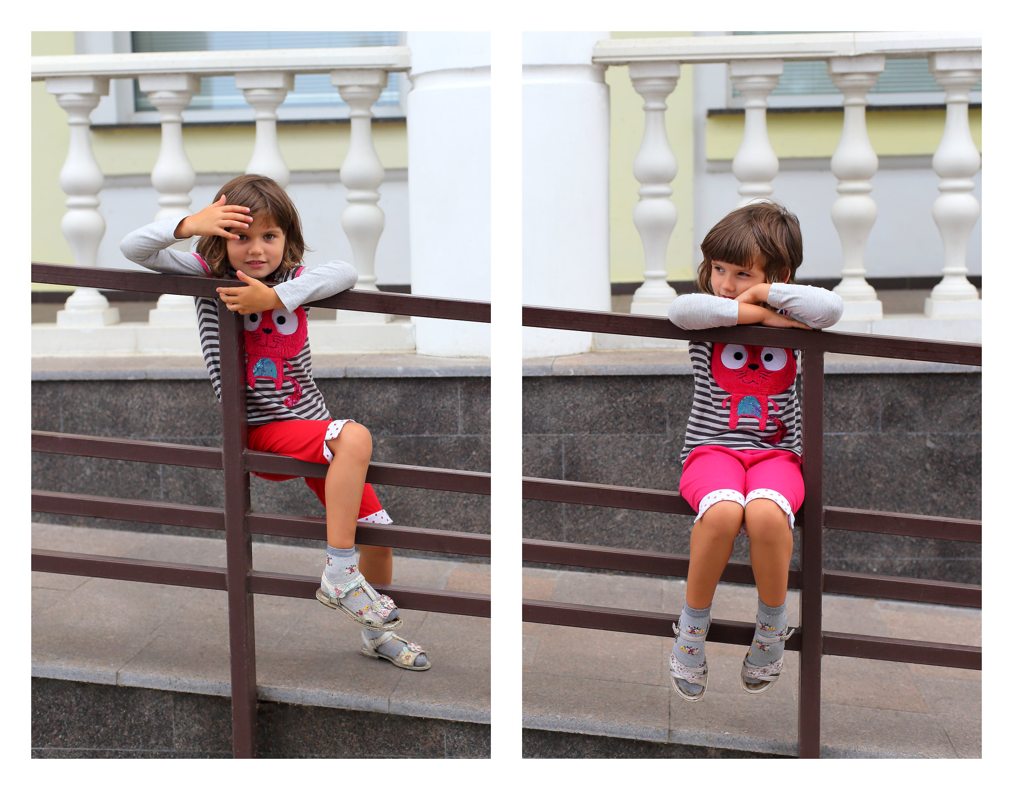 Twins posing for a picture on a railing.