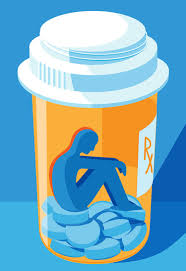 Depiction of person trapped by prescription opioid addiction.